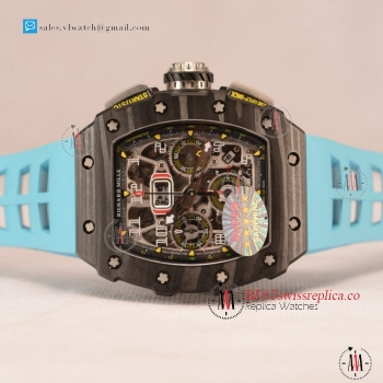 Richard Mille RM 11-03 Carbon Case With Chronograph 1:1 Clone Black Dial Blue Rubber Strap