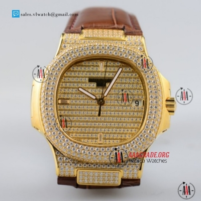 Cheap Patek Philippe Nautilus Miyota 9015 Yellow Gold Case with Diamond Dial/Bezel Brown Leather Strap For Sale