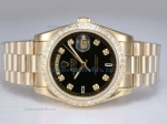 Discount Rolex Day-Date Automatic Full Gold with Diamond Bezel and Marking-Black Dial