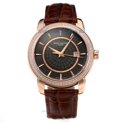 Replica Patek Philippe Rose Gold Case Diamond Bezel with Black Dial-Leather Strap-2 online