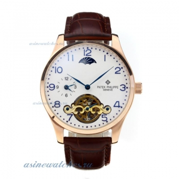 Replica Patek Philippe Automatic Two Time Zone Tourbillion Rose Gold Case with White Dial Brown Leat