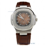 Replica Patek Philippe Nautilus Automatic Diamond Bezel with Brown Dial-Leather Strap online