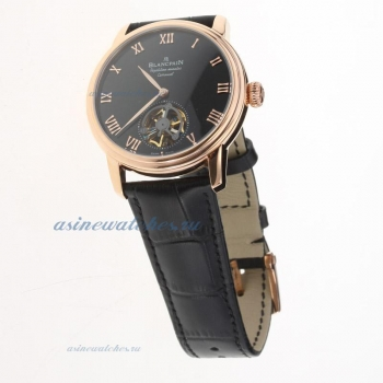 Blancpain Le Brassus Corrousel Reprtition Mimutes Tourbillon Automatic Rose Gold Case with Black Dial-Leather Strap