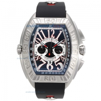 Cheap designer Franck Muller Conquistador Working Chronograph with Black Dial Rubber Strap