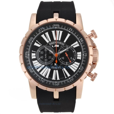 Cheap Roger Dubuis Excalibur Chrono Working Chronograph Rose Gold Case with Black Dial sale