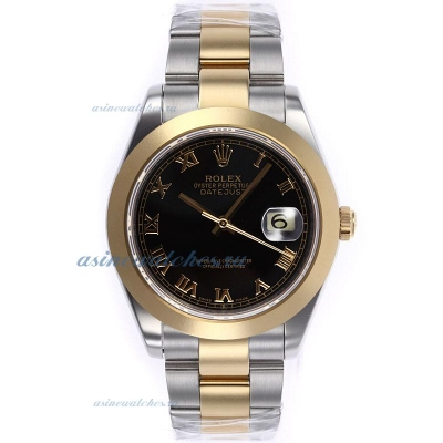 Cheap replica Rolex Datejust II Swiss ETA 2836 Movement Two Tone Roman Markers with Black Dial 1 onl