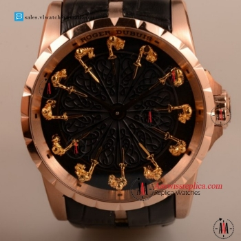 Cheap Roger Dubuis Excalibur Knights of the Round Table II 6T51 Manual Rose Gold Case with Black Jade Dial For Sale - (AAAF)