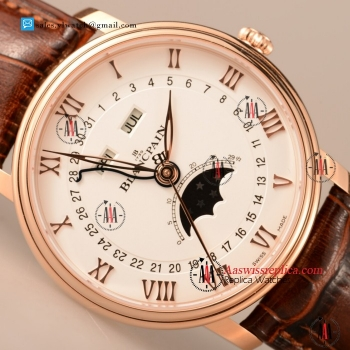BlancPain Villeret 9015 Auto Rose Gold Case with White Dial For Sale - (ZF)
