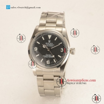 Rolex Explorer Cartier Steel Case Steel Bezel with Black Dial For Sale