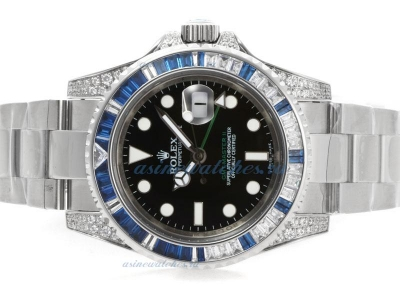 Cheap replica Rolex GMT-Master II Swiss ETA 2836 Movement Blue CZ Diamond Bezel