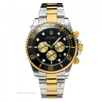 Rolex Oyster Perpetual Date Automatic Black Bezel Two Tone with Black Dial