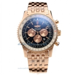 Cheap replica Breitling Navitimer Working Chronograph Full Rose Gold Case Black Dial