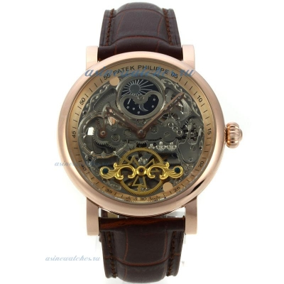 Replica Patek Philippe Working Two Time Zone Automatic Rose Gold Case with Skeleton Dial Leather Str