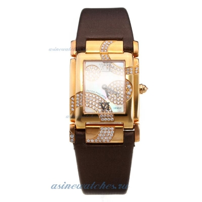 Replica Patek Philippe Twenty-4 Hours Rose Gold Case with MOP Dial-Brown Leather Strap online
