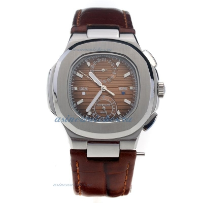 Replica Patek Philippe Nautilus with Brown Dial-Leather Strap-1 online