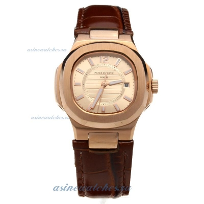Replica Patek Philippe Nautilus Rose Gold Case Champagne Dial with Leather Strap-Lady Size online