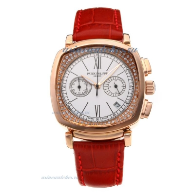 Replica Patek Philippe Nautilus Working Chronograph Stone Inner Circle Rose Gold Case with White Dia