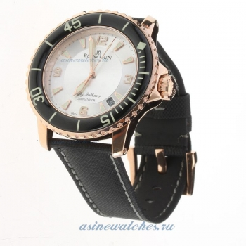 Blancpain Fifty Fathoms Automatic Rose Gold Case with White Dial-Nylon Strap on sale