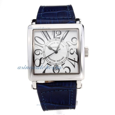 Cheap designer Frank Muller Master Square with White Dial Leather Strap