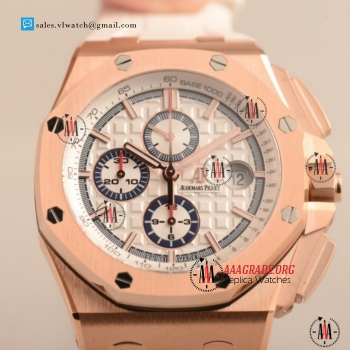 1:1 Cheap Audemars Piguet Royal Oak Offshore Summer Edition 3126 Auto Chronograph Rose Gold Case with White Dial For Sale (JF)