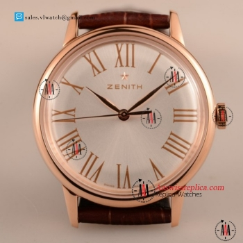 Cheap Zenith Vintage 9015 Auto Rose Gold Case with White Dial For Sale - (AAAF)