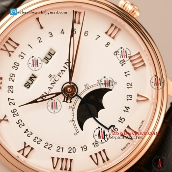 BlancPain Villeret 9015 Auto Rose Gold Case with Black Leather Strap For Sale - (ZF)