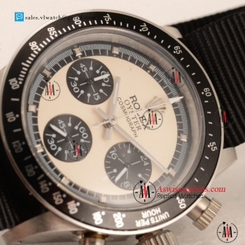 Rolex Daytona Vintage Chronograph OS20 Quartz Steel Case with Black Nylon Strap For Sale