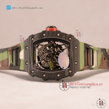 1:1 Richard Mille RM35-02 Japanese Miyota 9015 Auto Carbon Fiber Case With Skeleton Dial For Sale - (KV)