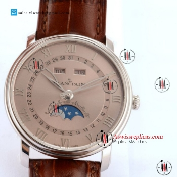 BlancPain Villeret Moonphase & Complete Calendar 9015 Auto Steel Case With Silver Dial For Sale