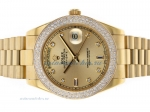 Cheap replica Rolex Day-Date II Swiss ETA 2836 Movement Full Gold Diamond Bezel and Markers with Gol