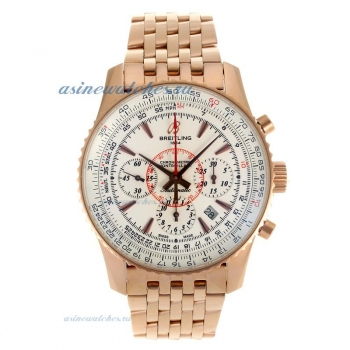 Cheap replica Breitling Montbrillant Chronograph Swiss Valjoux 7750 Movement Rose Gold Case with Whi