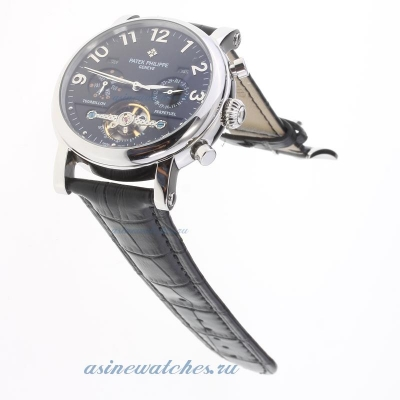 Replica Patek Philippe Perpetual Calendar Tourbillon Automatic with Black Dial-Leather Strap-2 onlin