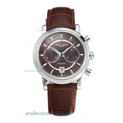 Replica Patek Philippe Classic Working Chronograph with Coffee Dial Coffee Leather Strap online