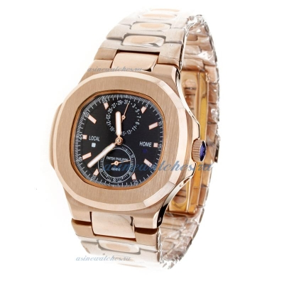 Replica Patek Philippe Nautilus Automatic Full Rose Gold with Black Dial-1 online