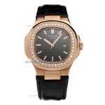 Replica Patek Philippe Nautilus Rose Gold Case Diamond Bezel with Black Dial-Leather Strap online