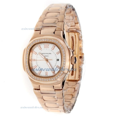 Replica Patek Philippe Nautilus Full Rose Gold Diamond Bezel with Silver Dial-Lady Size online