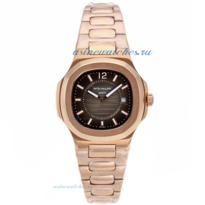 Replica Patek Philippe Nautilus Full Rose Gold Case with Brown Dial online