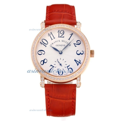 Cheap designer Frank Muller Master Square Diamond Bezel Rose Gold Case with White Dial Red Leather S