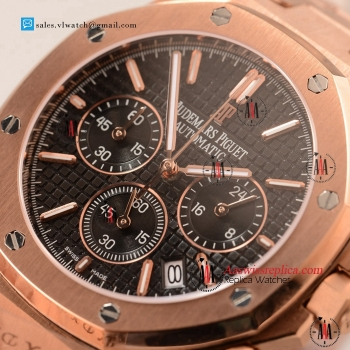 Cheap Audemars Piguet Royal Oak Chronograph Miyota OS20 Quartz Rose Gold Case with Black Dial For Sale