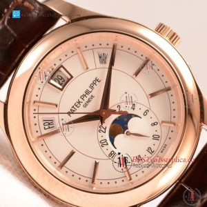 Patek Philippe Grand Complications Japanese Miyota 9015 Auto Rose Gold Case With White Dial For Sale