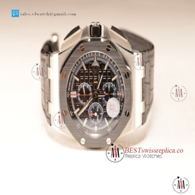 Audemars Piguet Royal Oak Offshore Black Dial 1:1 Clone With Black Leather Strap JF 26411PO.OO.A002CR.01