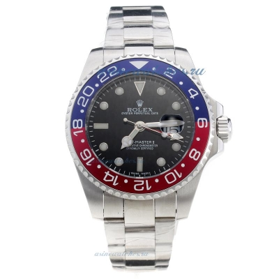 Cheap replica Rolex GMT-Master II Automatic Blue/Red Bezel with Black Dial S/S