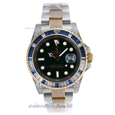 Cheap replica Rolex GMT-Master II Swiss ETA 2836 Movement Two Tone Blue/White CZ Diamond Bezel with