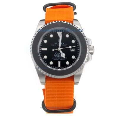 Cheap Rolex Submariner Stealth Automatic with Black Dial-Orange Nylon Strap on sale