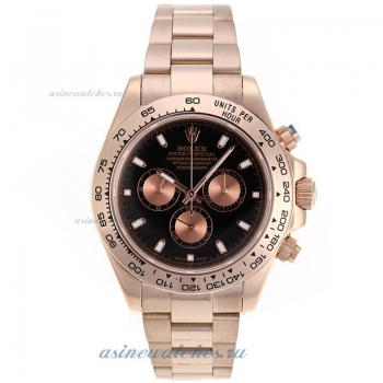 Cheap replica Rolex Daytona II Chronograph Swiss Valjoux 7750 Movement Full Rose Gold Stick Markers
