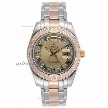 Cheap replica Rolex Masterpiece II Automatic Two Tone Diamond Bezel Roman Markers with Golden Dial o