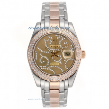 Cheap replica Rolex Masterpiece II Automatic Two Tone Diamond Bezel with Diamond Golden Dial 1 onlin