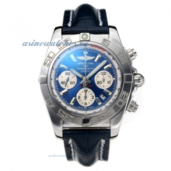 Cheap replica Breitling Classic Swiss Valjoux 7750 Movement with Blue Dial Sapphire Glass-Leather St
