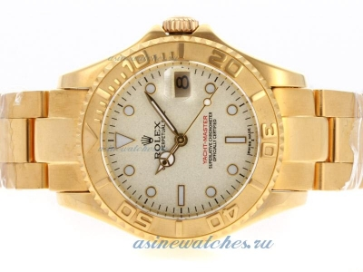 Cheap replica Rolex Yacht-Master Swiss ETA 2671 Movement Full Gold with Granite Dial sale in this st