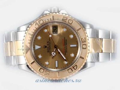 Cheap replica Rolex Yacht-Master Swiss ETA 2836 Movement 14K Wrapped Gold-Two Tone with Golden Dial